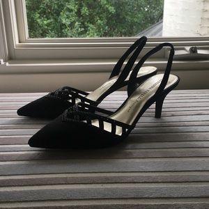 Black Adriana Papel Heels